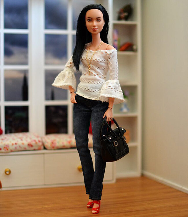 OOAK Made to Move Black Hair Barbie, Eve, Plastically Perfect - OOTD - Pointelle Statement Sleeves 04.jpg