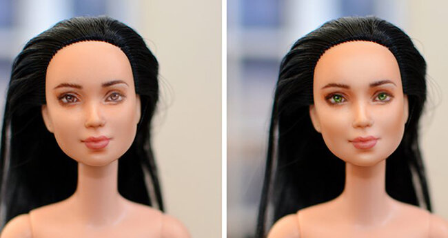 OOAK Made to Move Black Hair Barbie, Eve, Plastically Perfect - Photoshop Makeup Example 03.jpg