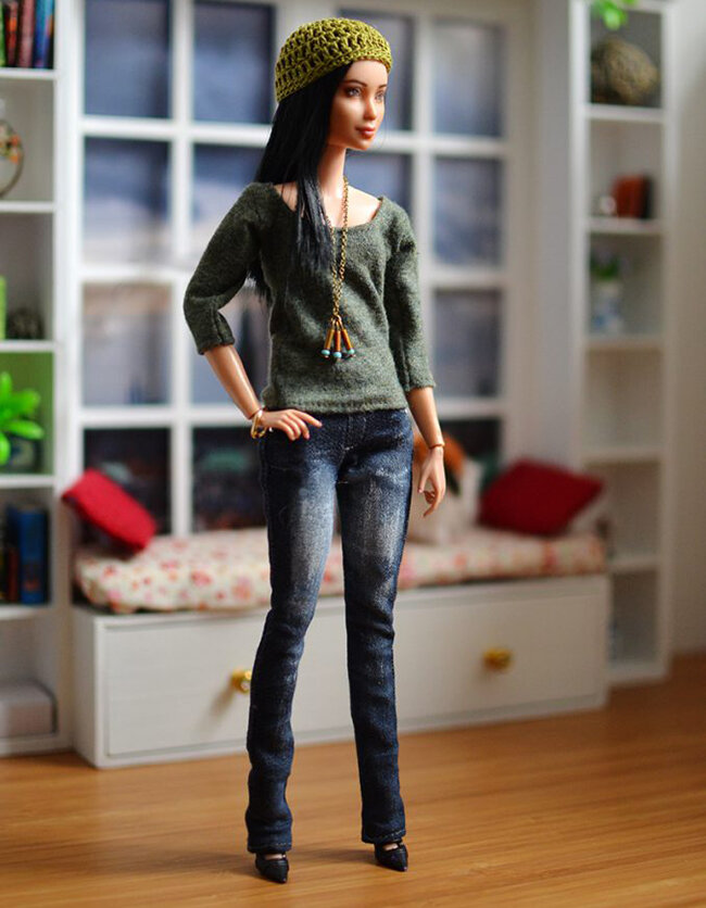 OOAK black hair made to move Barbie, Eve, Plastically Perfect - OOTD capsule wardrobe outfit 5, pic 01.jpg