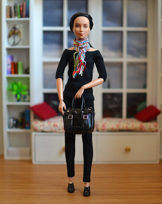 OOAK black hair made to move Barbie, Eve, Plastically Perfect - OOTD capsule wardrobe outfit 7 pic 03.jpg