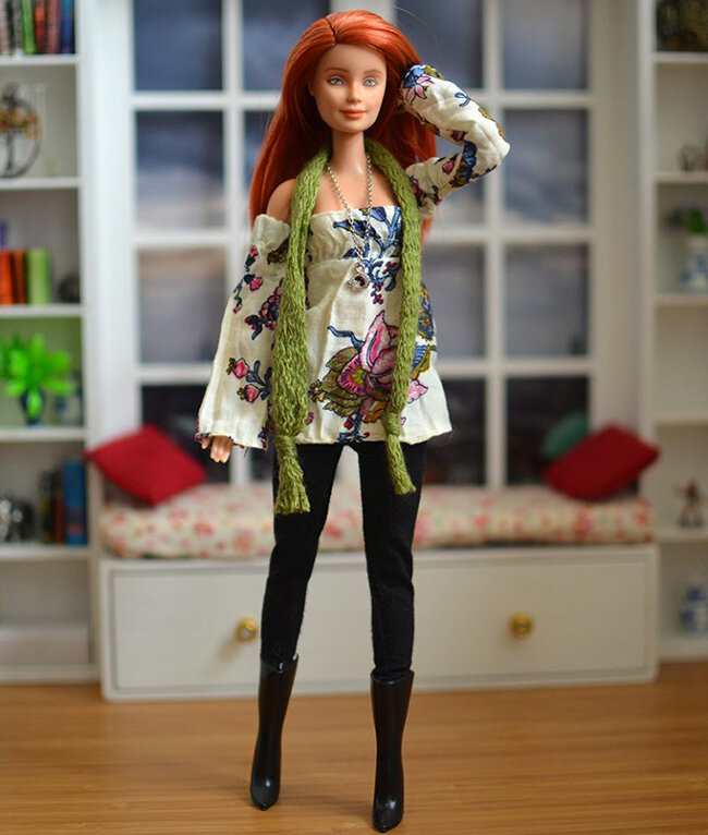 OOAK red hair made to move Barbie, Anne, Plastically Perfect - OOTD capsule wardrobe outfit 9 pic 04.jpg