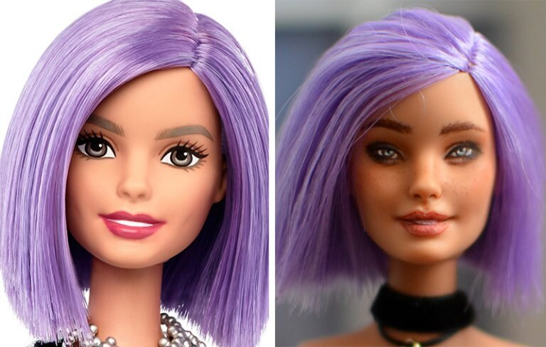 OOAK va-va-violet fashionista Barbie - Heather - Plastically Perfect - Before After Upcycle Makeover Repaint.jpg