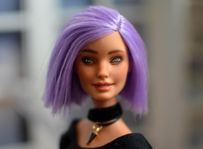 OOAK va-va-violet fashionista Barbie - Heather - Plastically Perfect - After Upcycle Makeover Repaint 03.jpg
