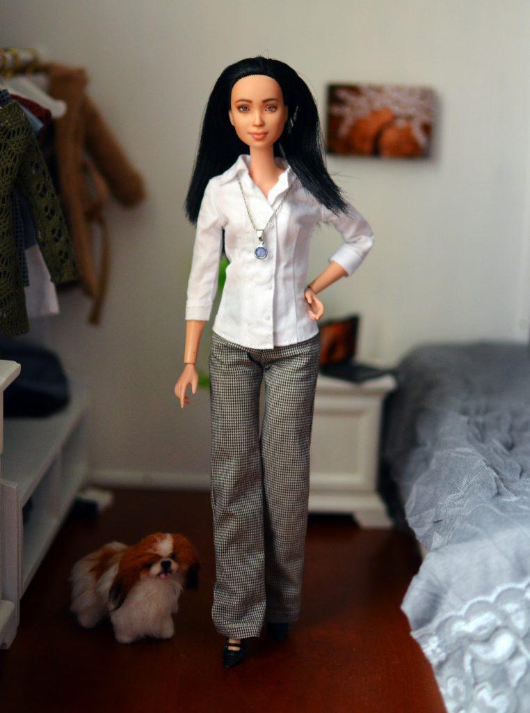 OOAK-Repainted-Black-Hair-Made-to-Move-Barbie-OOTD-Crisp-White-Shirt-Houndstooth-Slacks-Business Casual 01.jpg