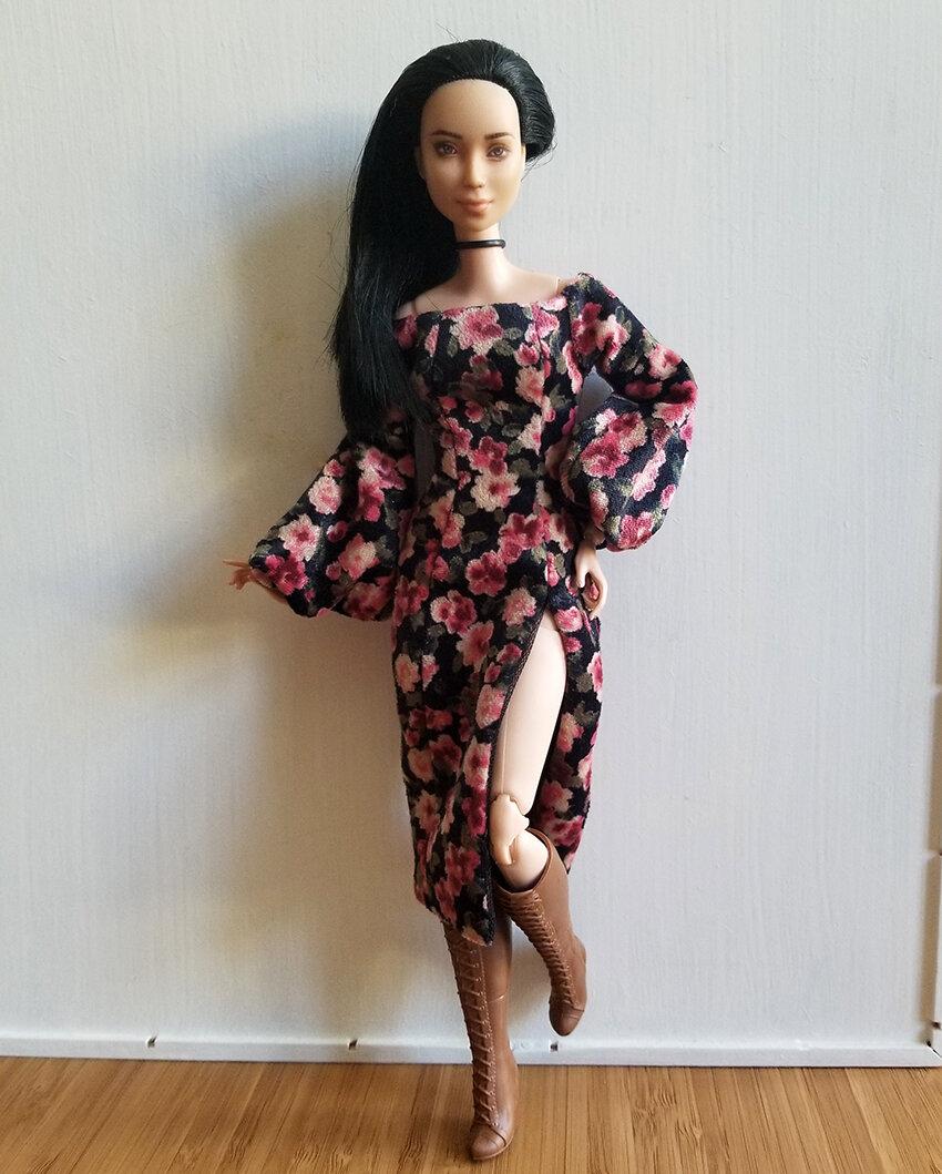 OOAK-Repainted-Barbie-Black-Hair-Made-to-Move-Floral-Dress-Tall-Boots-OOTD-03.jpg