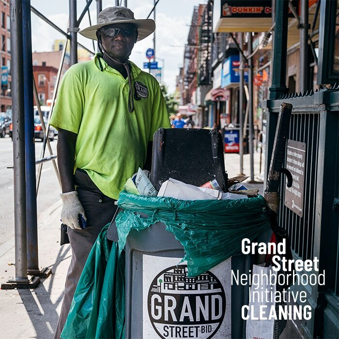 Cleaning - Our street sweeping team works 7 days a week to keep Grand Street gorgeous through sun, rain, and snow. In fiscal year 2019 we spent 2,800+ hours sweeping up 5,700+ buckets of litter, removing 159 incidents of graffiti, and monitoring streetscape conditions as part of our core mission to ensure a beautiful commercial corridor.