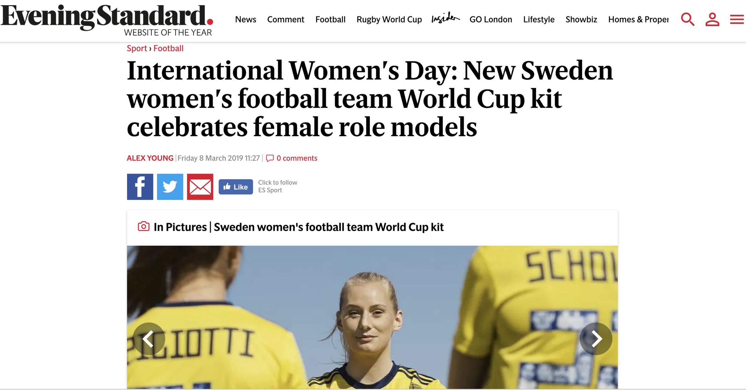 Evening Standard:  Sweden women's football team celebrates female role models
