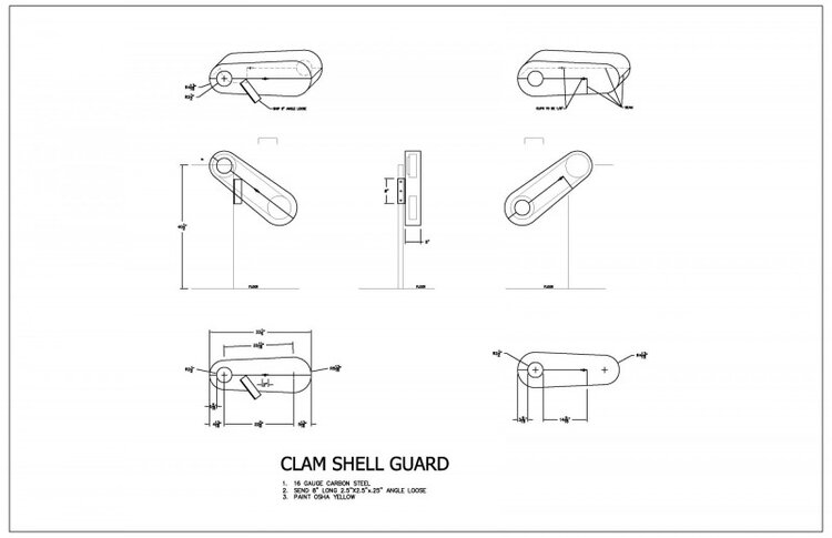 Drawings - At Falls Metal Fabricators & Industrial Services, we welcome the opportunity to comply with safety regulations for our customers. As a result, our engineers and operators are very experienced in making prototypes which translate to faster turn-around and very precise results. The above drawing indicates the design and fabrication of safety guarding that was designed for OHSA Safety Compliance and insurance inspection.