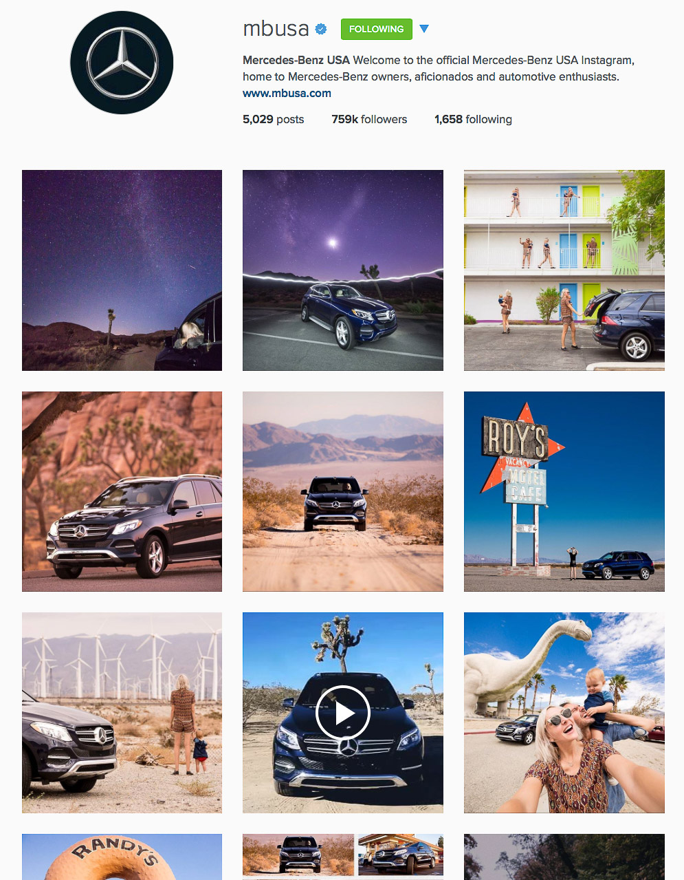 Mercedez-Benz USA instagram takeover