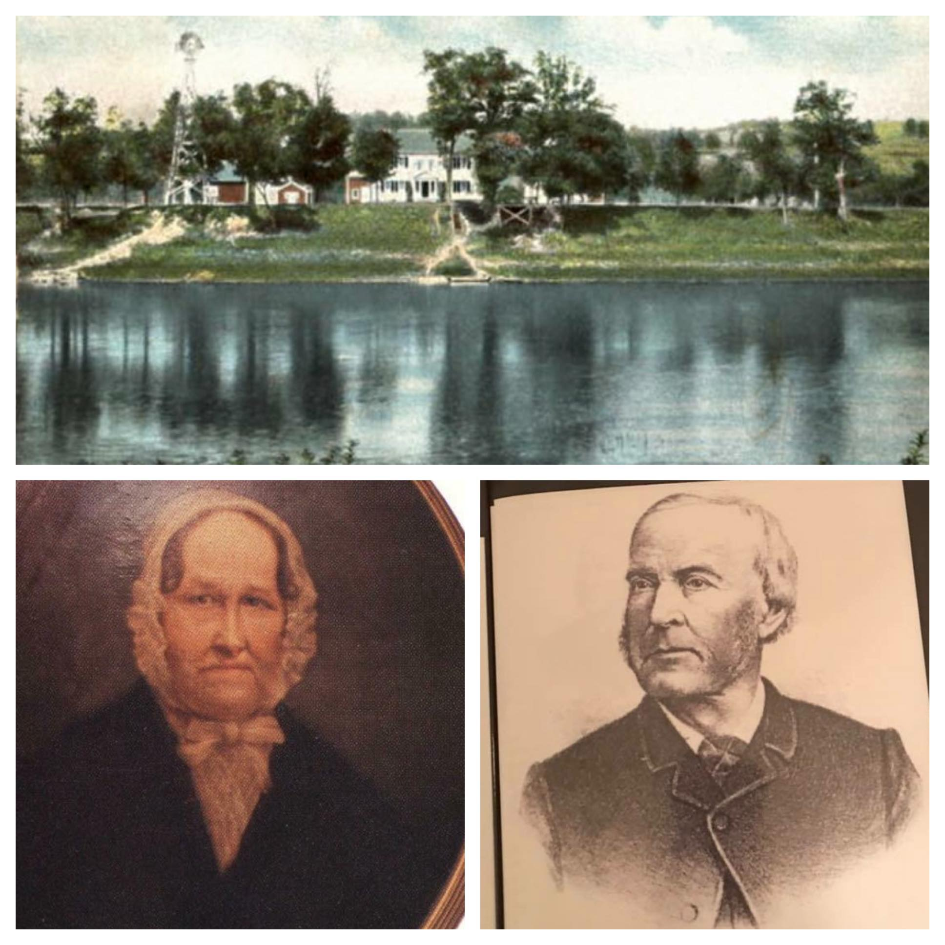 (Top) postcard picturing Washingtonian Hall. (Bottom) The original owners of the Washingtonian Hall!, Anne and Amos Patterson.