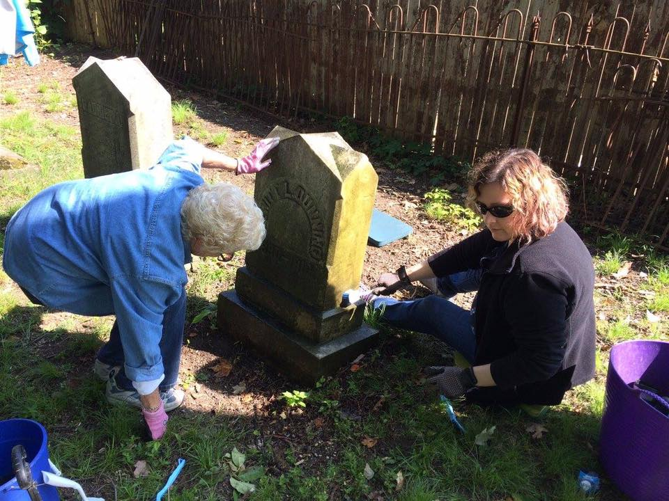 One of our very first clean ups at the cemetery in 2017!