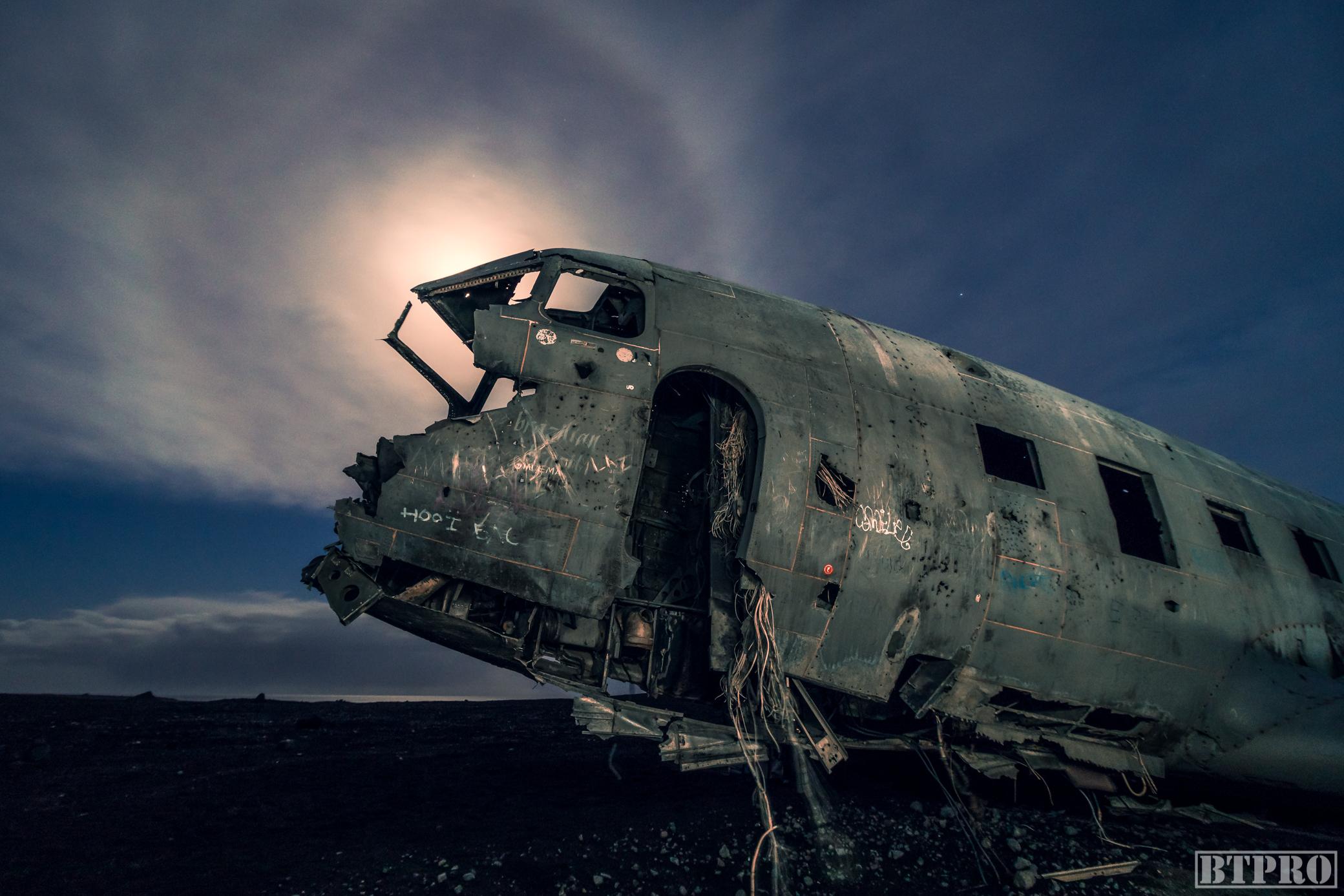DC3 Plane Wreck at Night