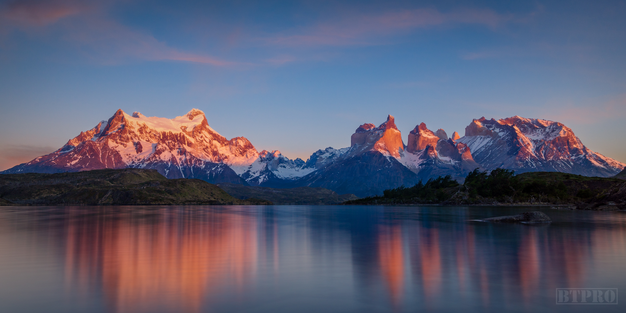 Sunrise by Mountains of Torres Del Paine