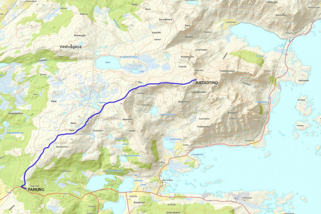 Justadtinden Hike Map