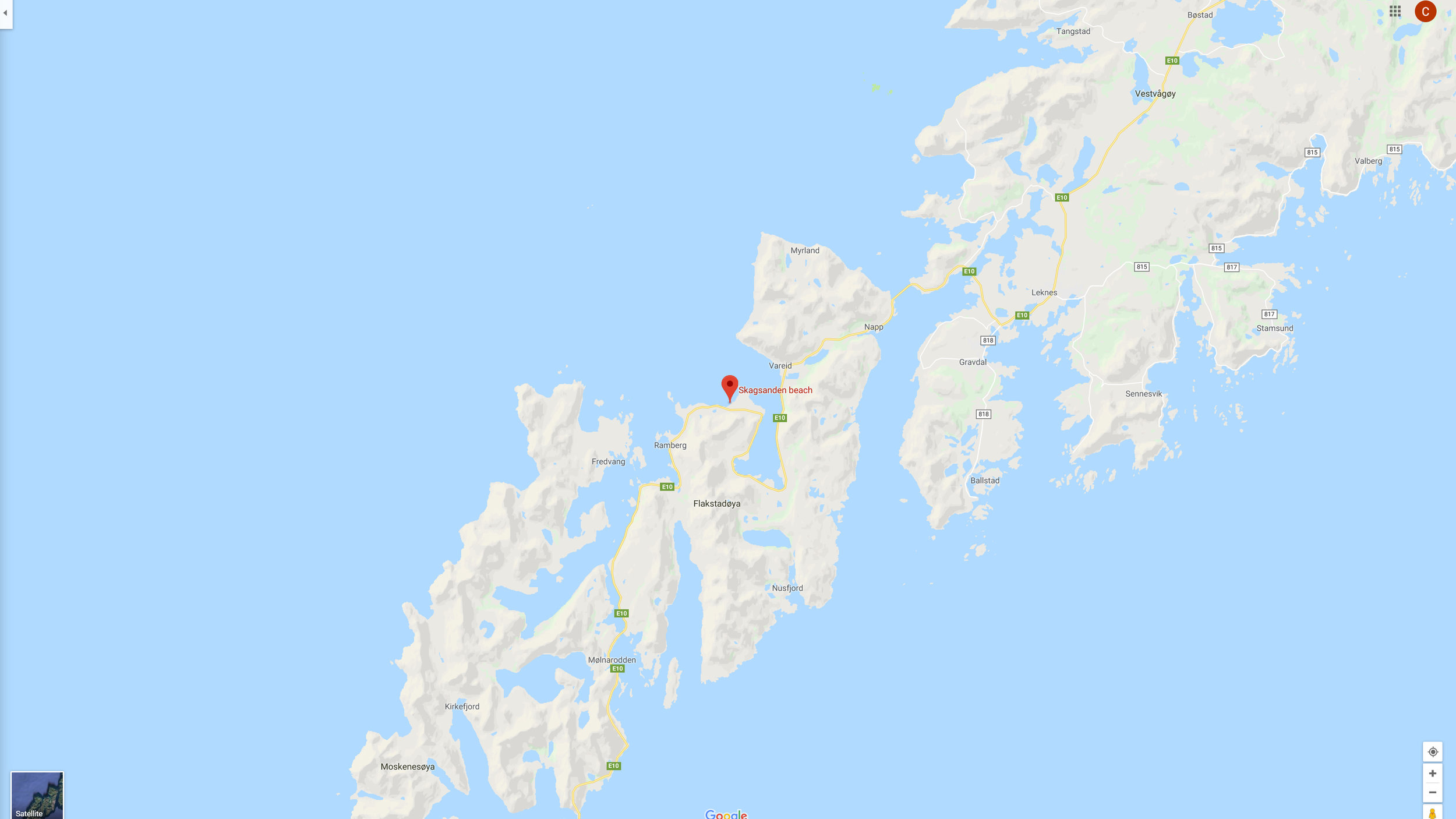 Map of Skagsanden Beach