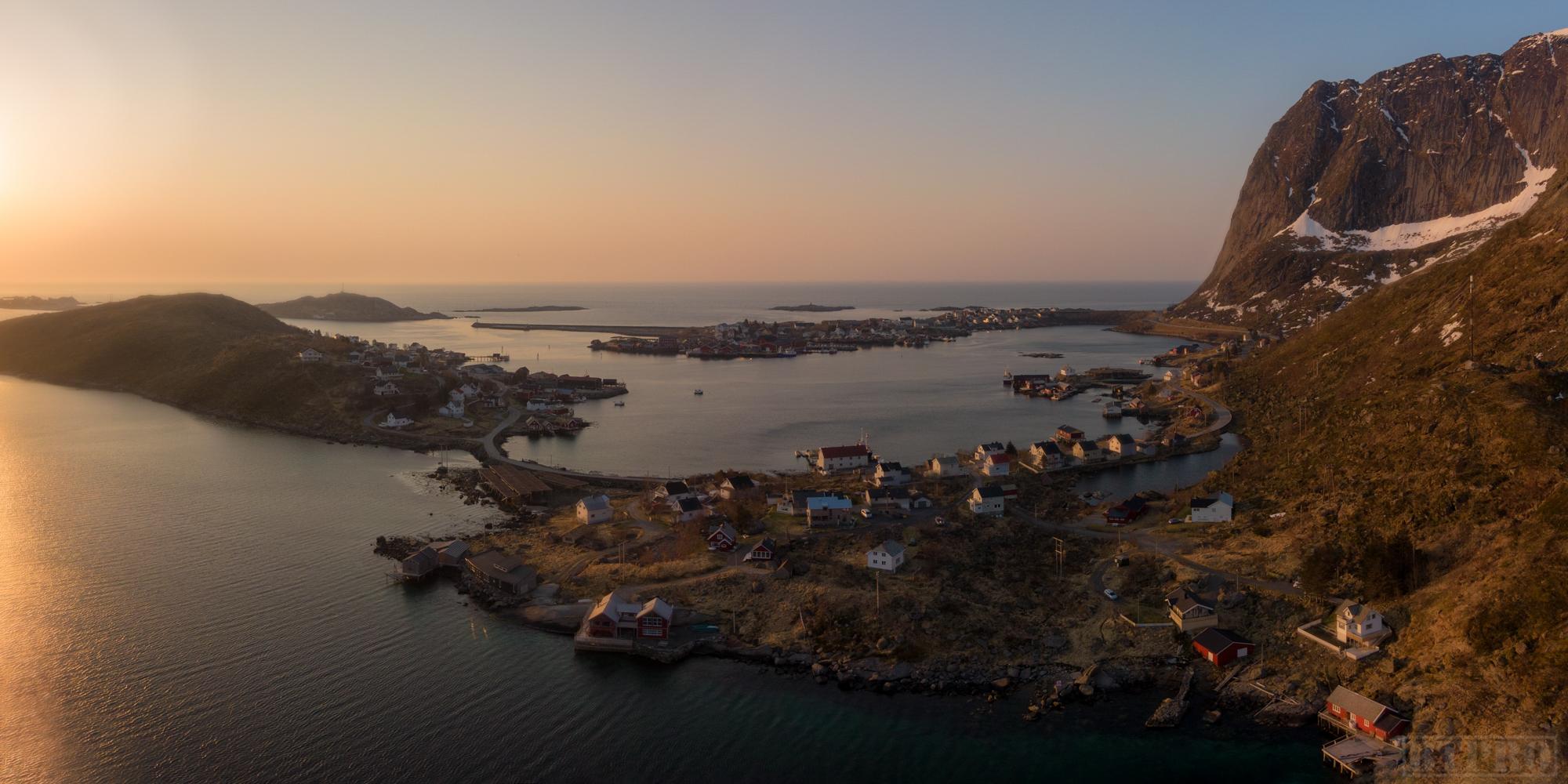Aerial Pano of Reine at Sunrise