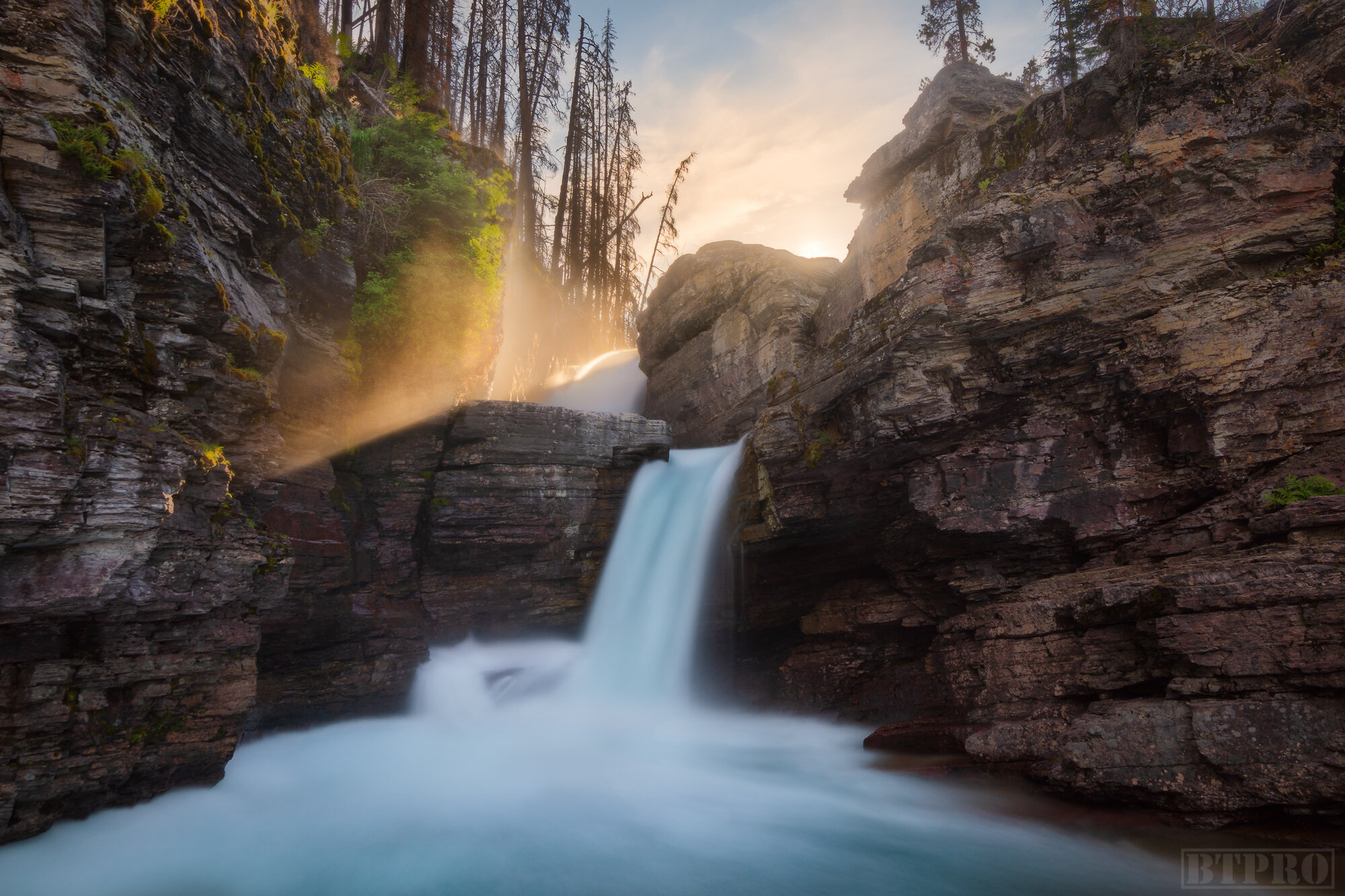Sunset at St. Mary Falls