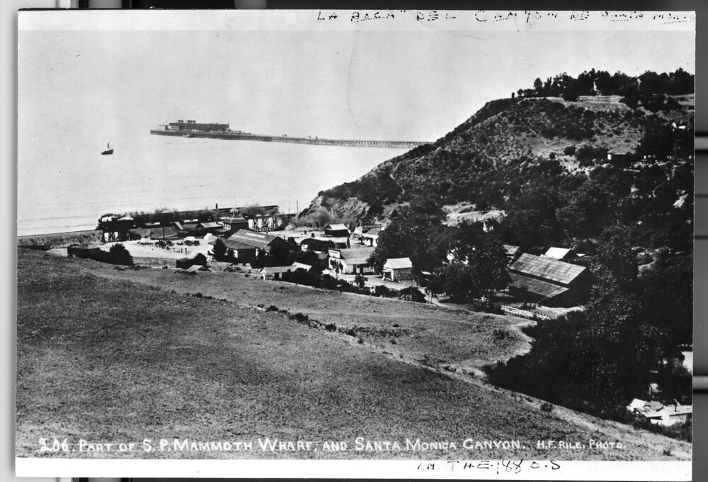 Santa Monica Canyon with the Long Wharf in the distance  Young Family Collection