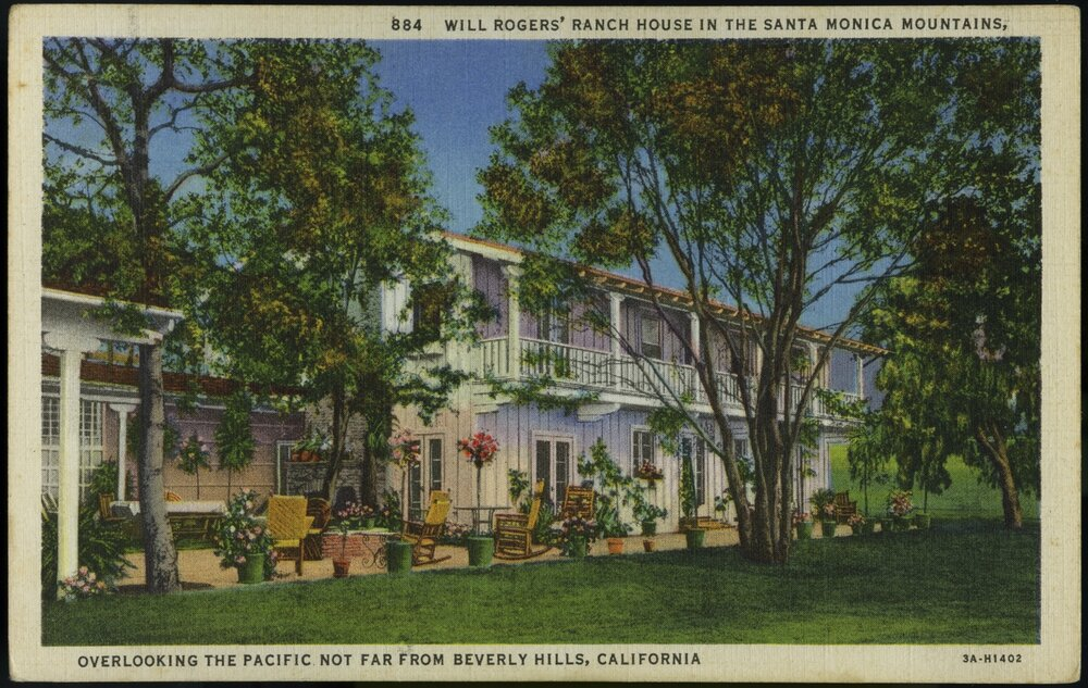 Vintage Postcard of the exterior of the Ranch House  Young Family Collection