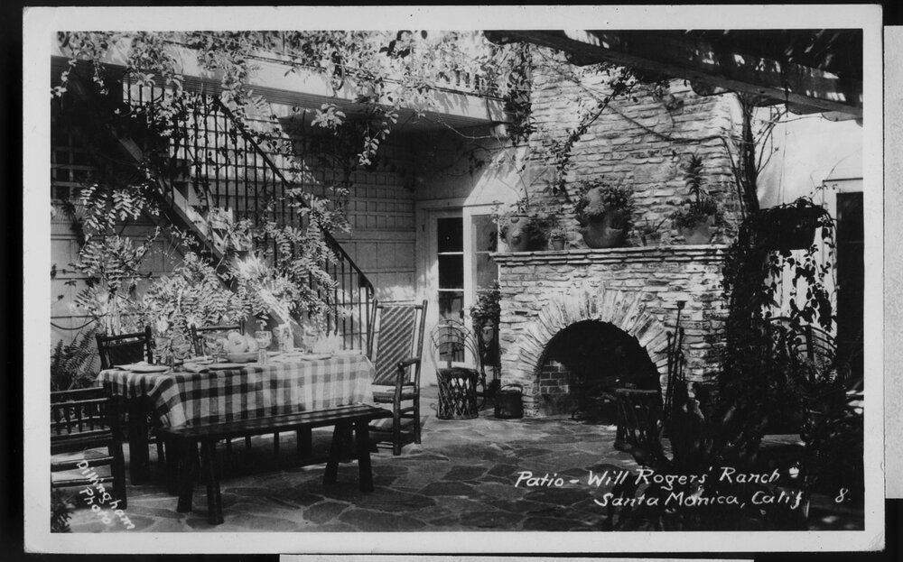 Patio at Will Rogers Ranch House, Post card  Young Family Collection