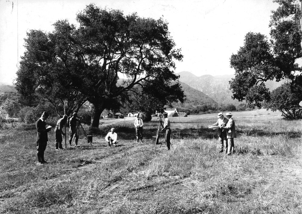 Surveying land at Founder's Oak, 1922; Dr Reverend Scott on right.  Zola Clearwater Collection