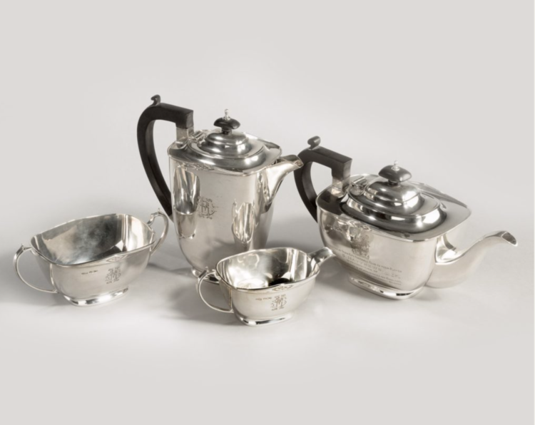 'Sir Stanley Mathews' four piece silver tea set, 1946, England, 66 troy ounces.   Wick Antiques - A3