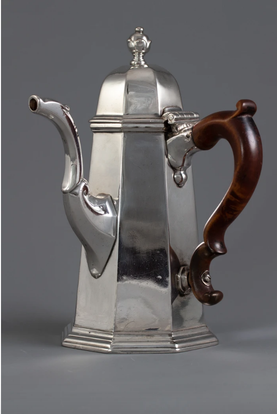 A George I Britannia Silver Coffee Pot , London, 1716, by John Chartier.   Forrest & Fraser - P12 .