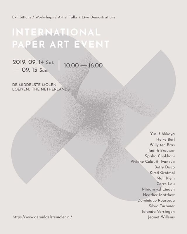 On 14th and 15th September, I will be taking part in this International Paper Art Event in Loenen, the Netherlands alongside with 15 other talented paper artists from across the globe.  It's my first time participating in such event, having the opportunity to meet artists who work closely with paper in different forms and techniques, none of us has the same approach and I really look forward to this so so very much!  Please stay tuned for what's to come 🇳🇱