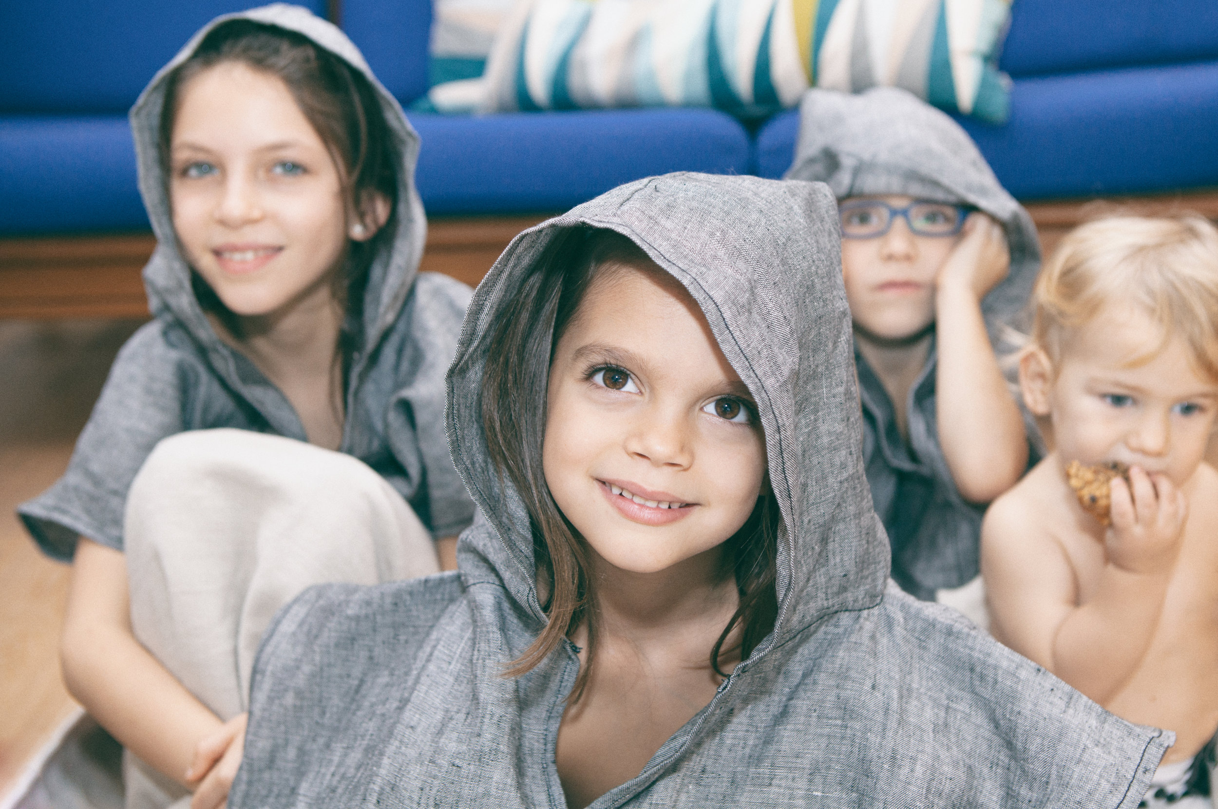Hooded kids bathrobe to the beach or to the swimming pool