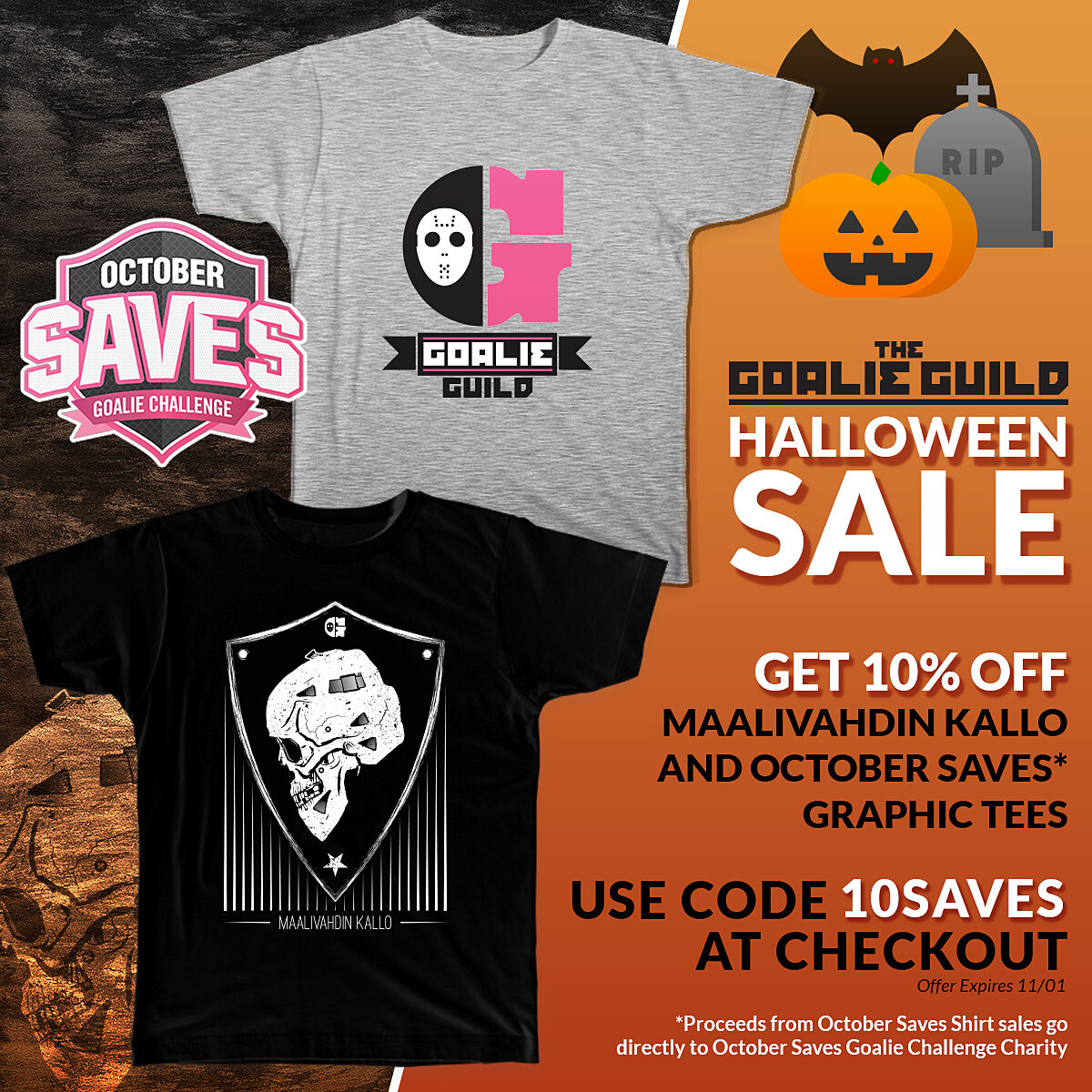 The Goalie Guild Halloween Sale Ad