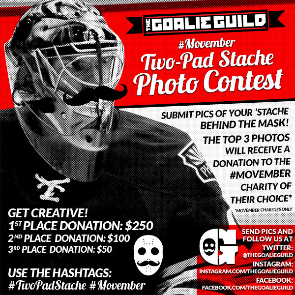 The Goalie Guild Two-Pad Stache Contest Ad