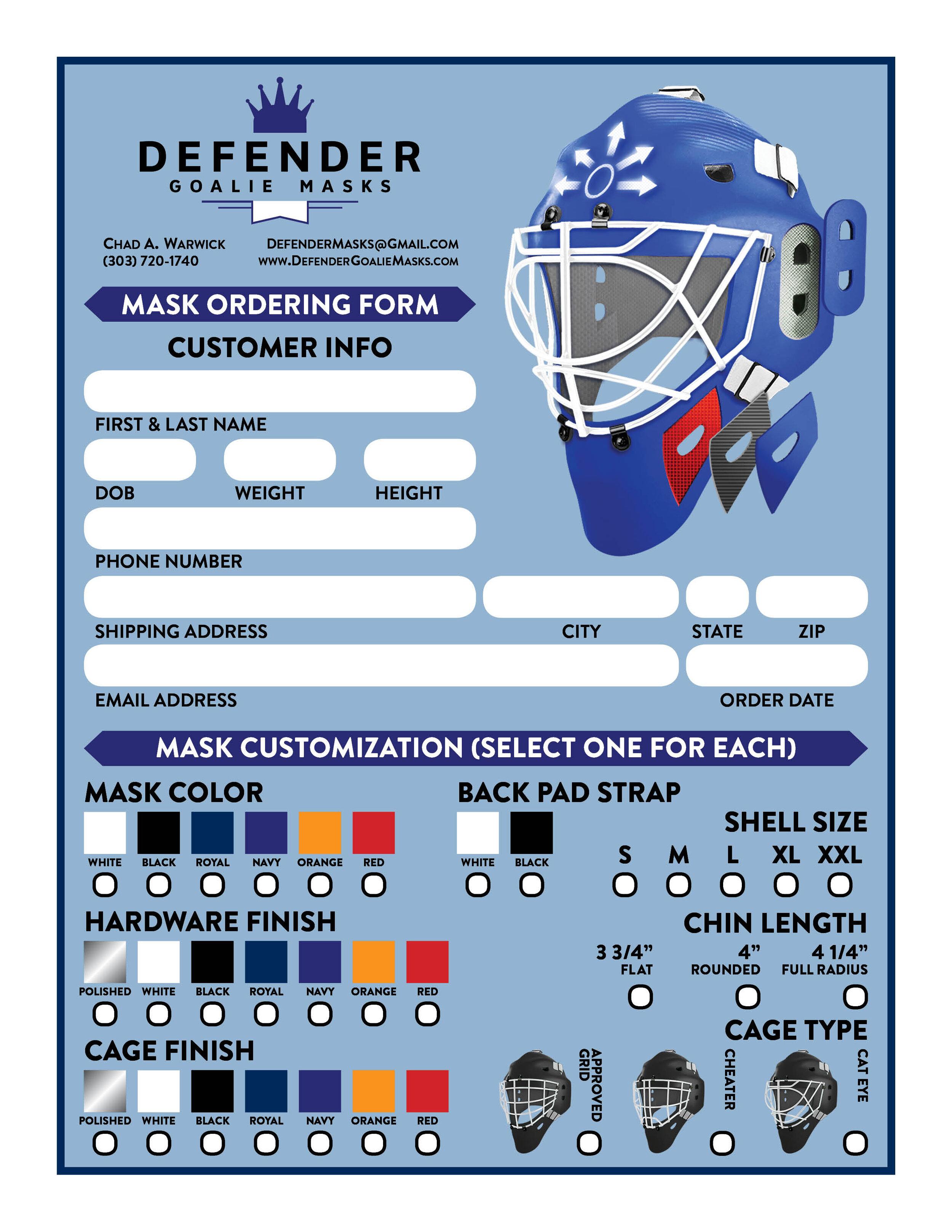 Defender Goalie Masks Order Form