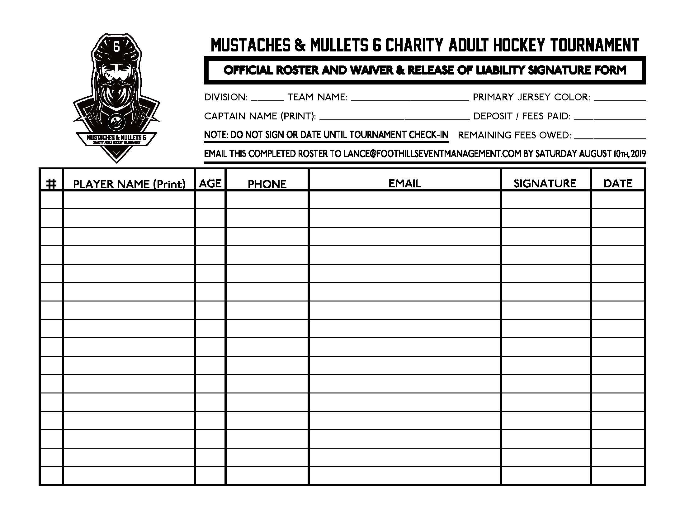 Mustaches & Mullets 6 Roster Form