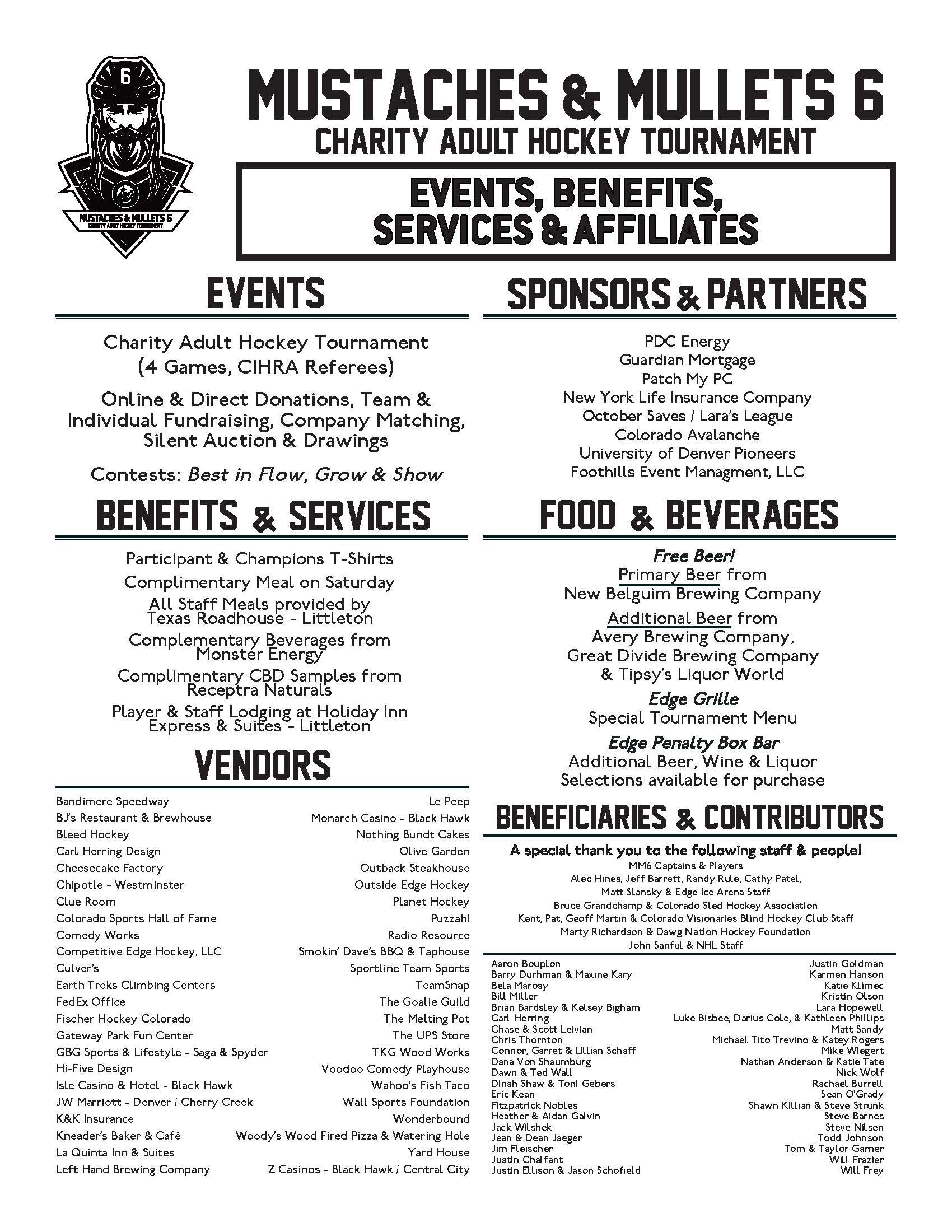 Mustaches & Mullets 6 Events, Benefits, Beneficiaries, & Affiliates
