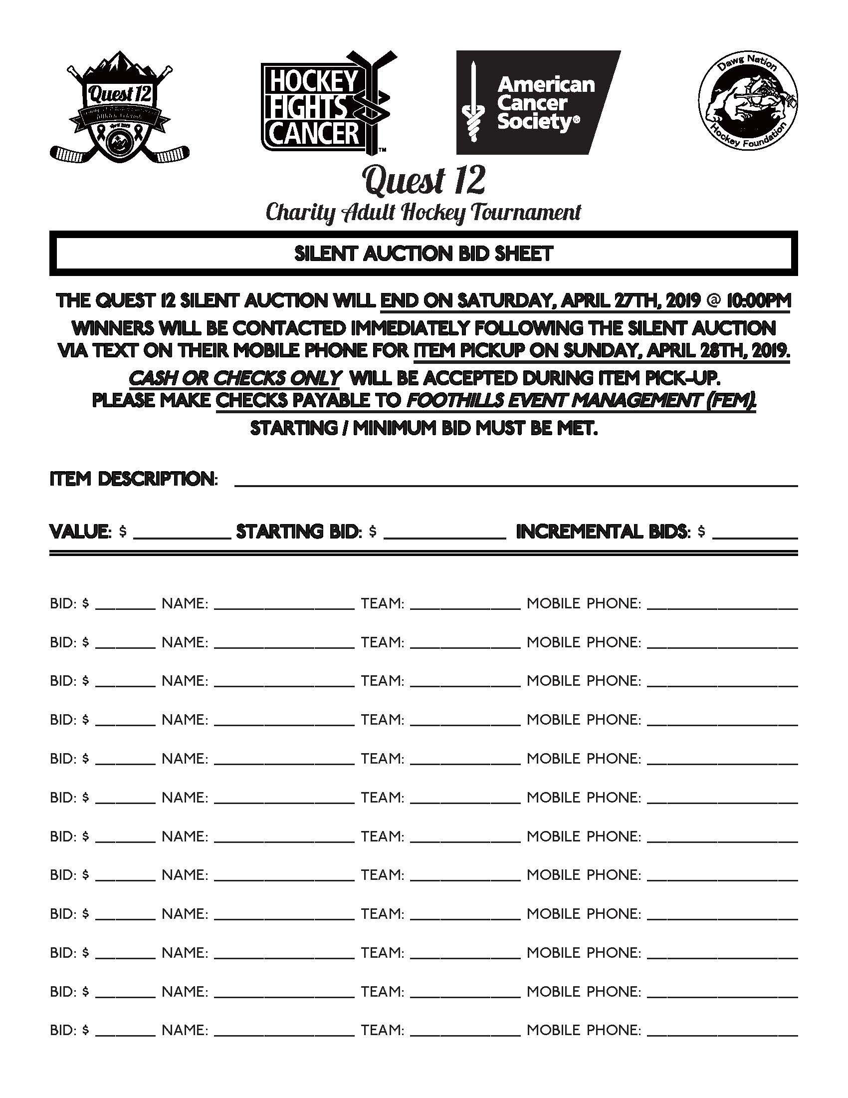Quest 12 Silent Auction Bid Sheet