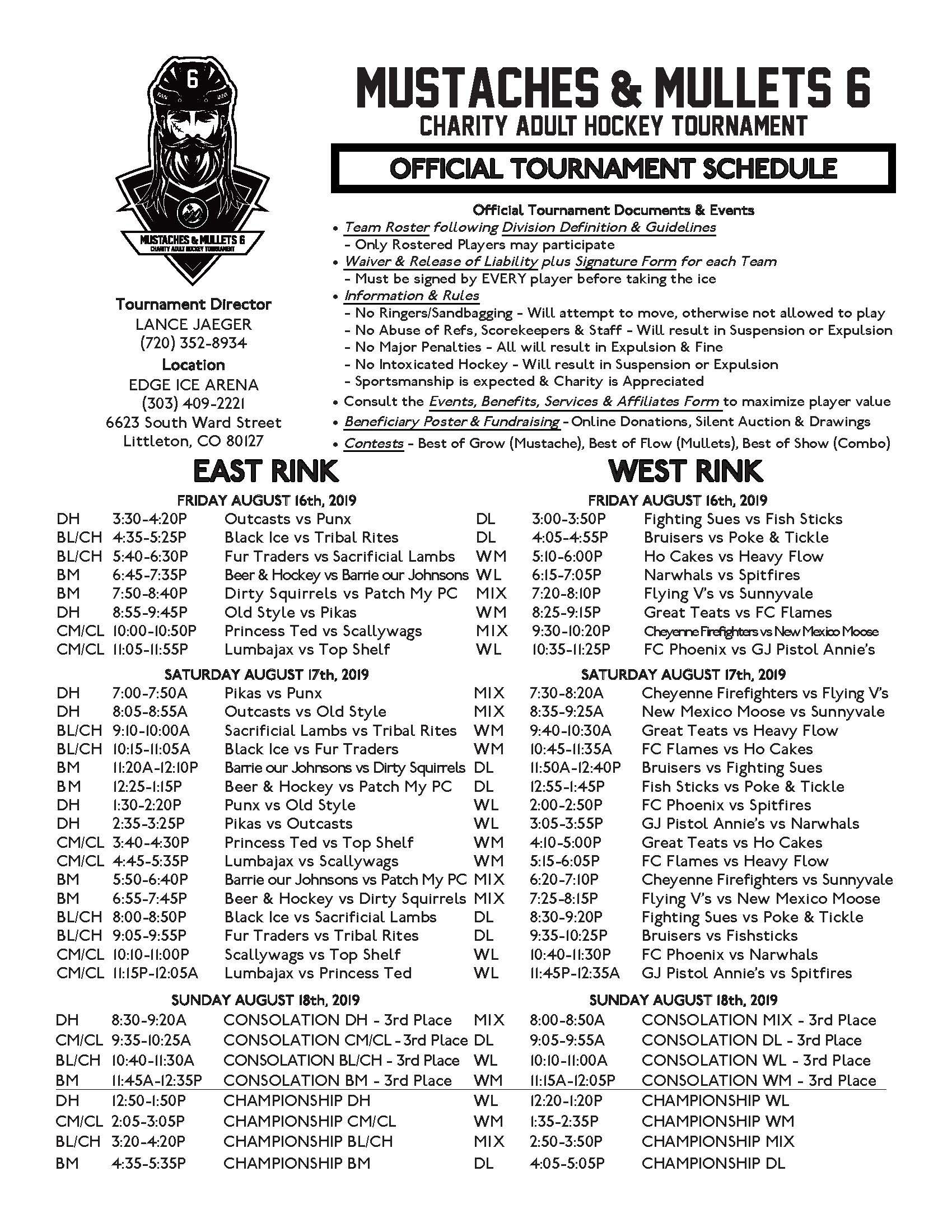Mustaches & Mullets 6 Schedule