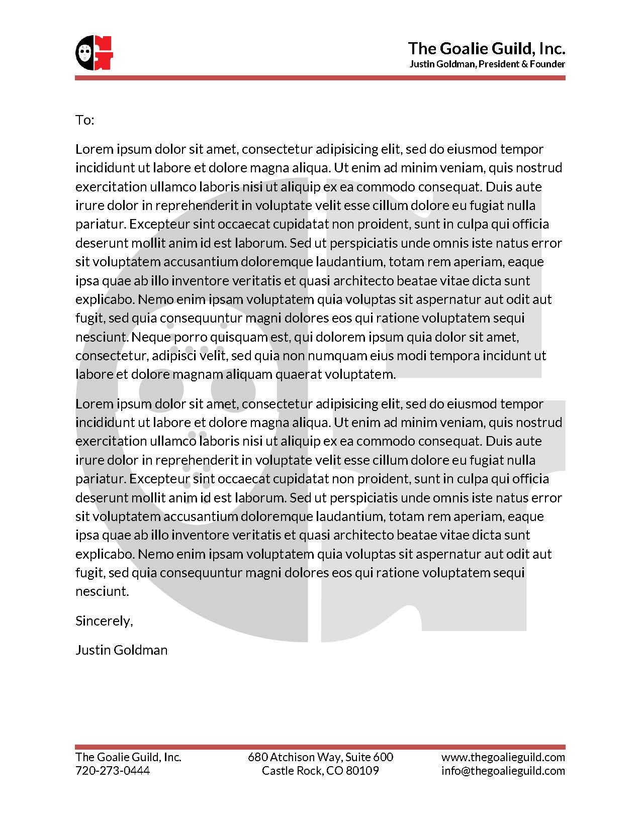 The Goalie Guild Letter Head & Release