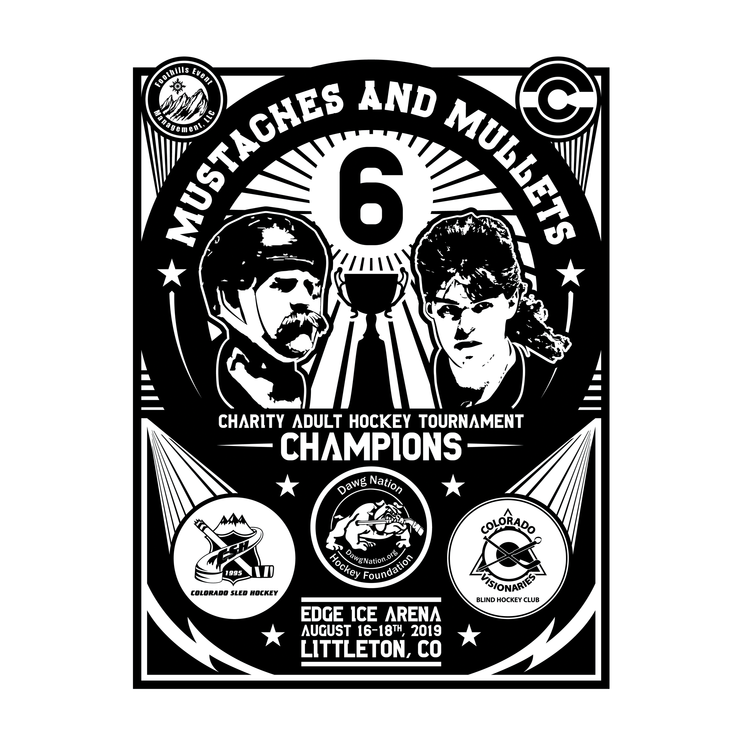 Mustaches & Mullets 6 Champions Graphic