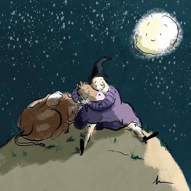 The witch and the cow. . . . #happysaturday #witch #halloween #halloween2019 #instawitch #ilovetodraw #drawinglove #instadrawing #drawdrawdraw #drawingismylife #ipaddrawing #procreate #lovetodraw #kinderbuch #zeichnen #austrianartist #austrianart #childrensbooks #kinderbücher #bilderbuch #picturebook
