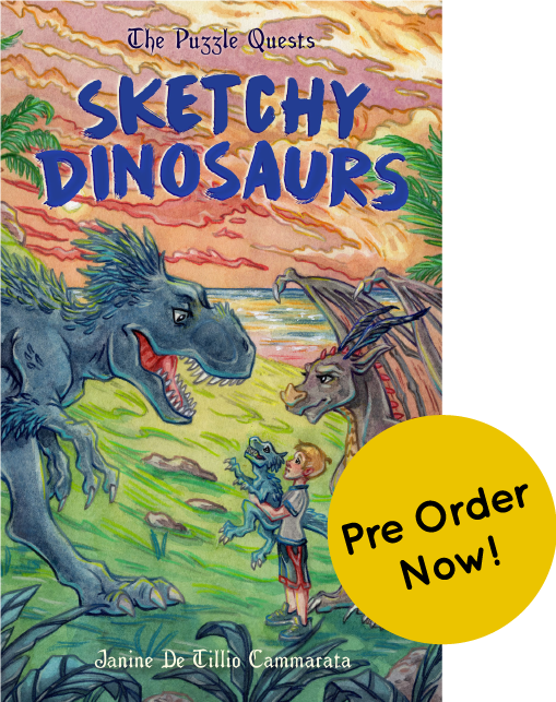 The cover of 'The Puzzle Quests Sketchy dinosaurs , a circle with the words 'pre-order now' overlaps it.