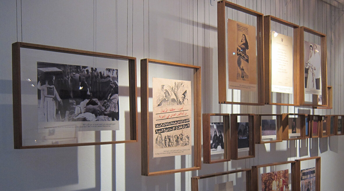 """Towards a Women's museum in the Middle East   Cairo, Amman, Beirut and Århus 2017 EXHIBITION DESIGN  """"Doing well, Don't worry"""" is a travelling exhibition with short stories about Arab women's work, mobility and relationship. A series of bespoke made light boxes, suspended frames and suitcases where created to hold and unfold 20 women's stories through words, photographs and everyday objects. All display cases where designed as a generic set that is easily disassembled and transportable as well as being able to be up-cycled for various spaces and future exhibitions.  The project was structured around a series of workshops and as a first step towards establishing a women's museum in the Middle East. Galmstrup supported the project with talks on strategic visioning and exhibition design while designed the display-case set and exhibition layout. The purpose is to train and establish a network of younger women in the field of museology, material culture and gender. The exhibition has set up the first gender focused travelling exhibition in Cairo, Beirut and Aarhus.  Collaborators: Women's Museum Denmark, DEDI, Women and Memory Forum and El Kousha Puppets workshop, Cairo"""