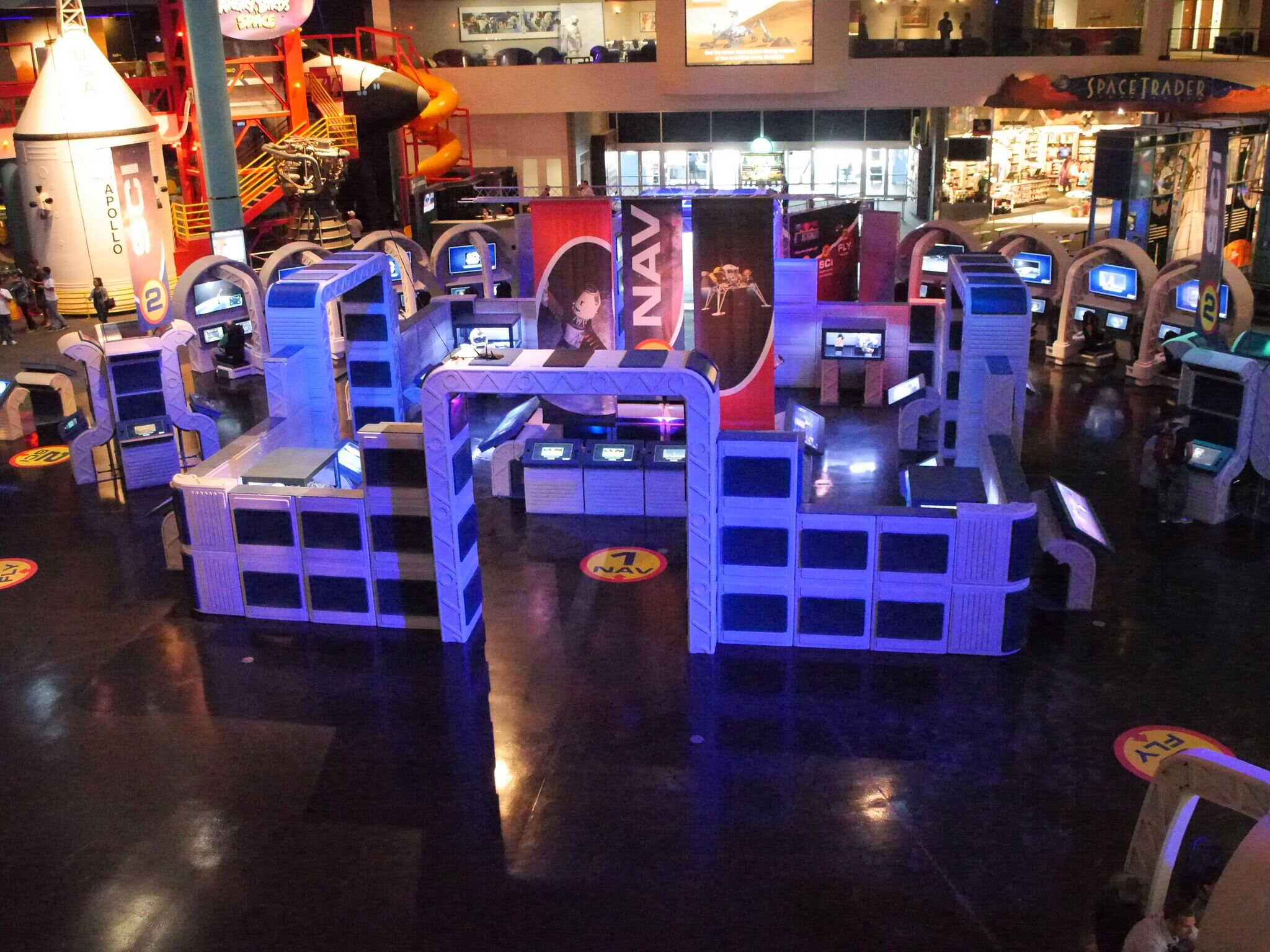 """modular exhibit design - Be the Astronaut can fit almost any exhibition space, with a combination of modular forms and three stations - NAV, SCI, & FLY. Build a myriad of adventures at any venue with Eureka's unique modular building system, featuring lightweight, sturdy """"building blocks""""."""