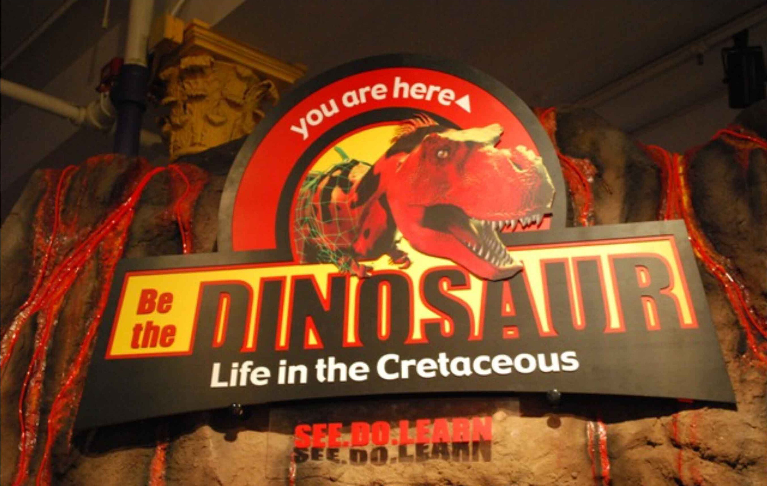 Be the Dinosaur - A scavenger hunt, played as a virtual game combined with a scavenger hunt through the physical exhibit, through the most realistic simulation of a Cretaceous ecosystem ever produced