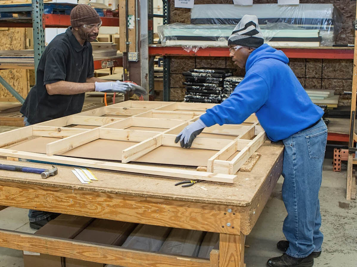 EMERGENCY FURNITURE KITS - Hope's Woodworks operations builds institutional furniture for distribution to families in need. We also provide household staples such as cleaning supplies so that a family is immediately functional.We manufacture 12,000 - 15,000 pieces of furniture annually.