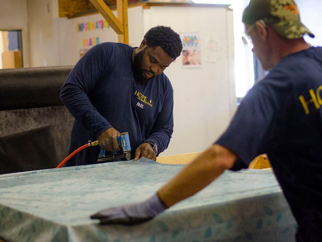 Contribute - Contributions of any size help to maintain tools, vehicles, and equipment so that we can train workers and provide furnishings. Use United Way Donor Choice Organization number 2598.