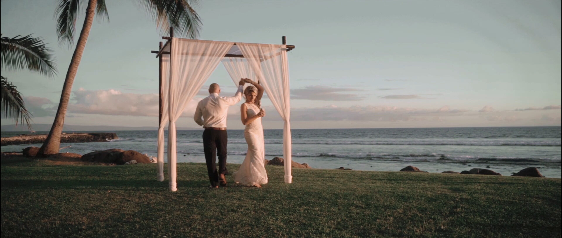 Bride and Groom at the Olowalu Plantation House ceremony site