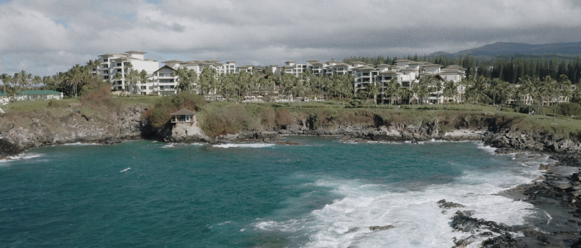 Montage Kapalua aerial drone shot cliff house