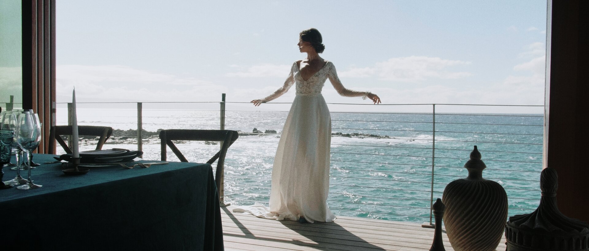 bride at the Montage Kapalua cliff house balcony