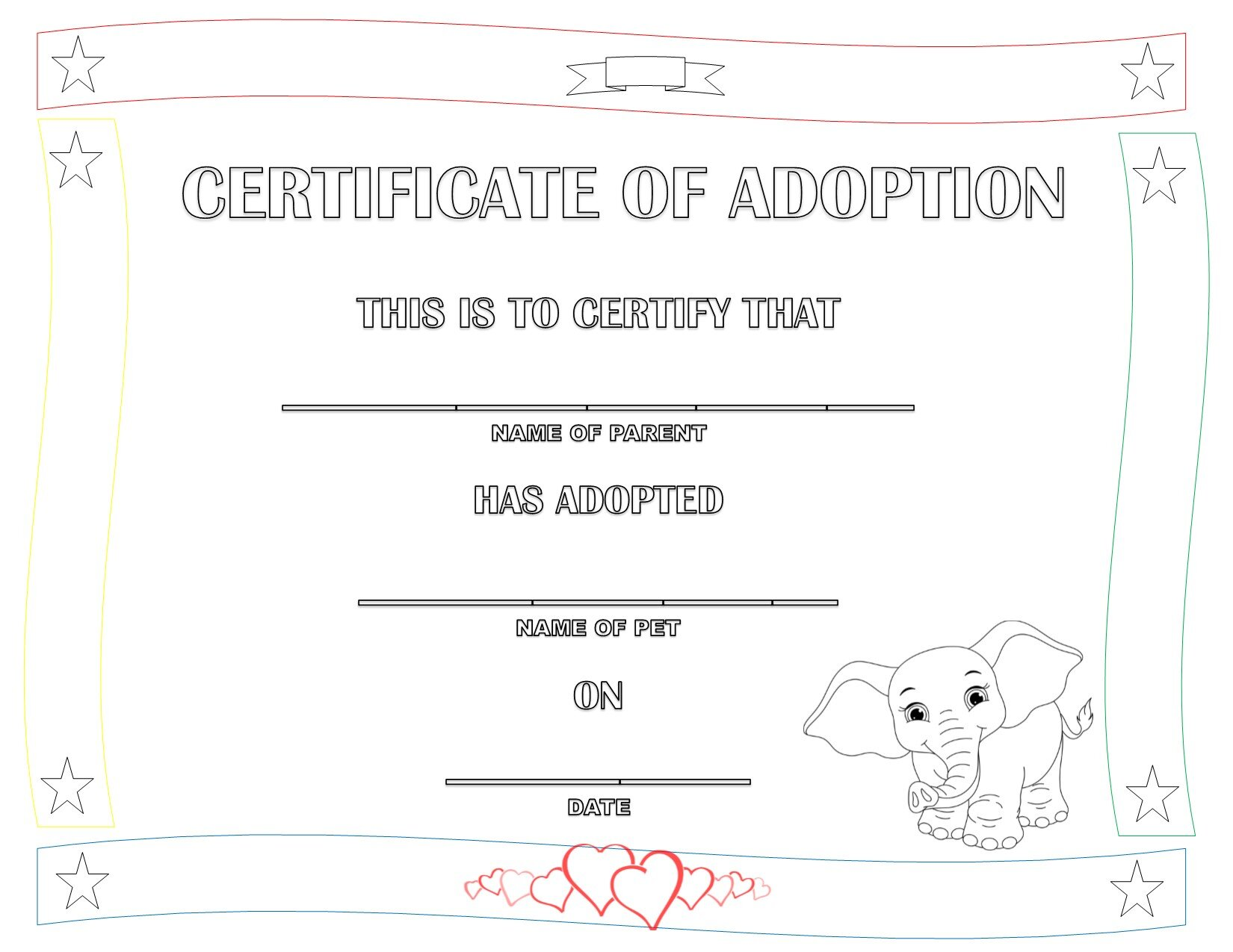 Printable elephant adoption certificate -