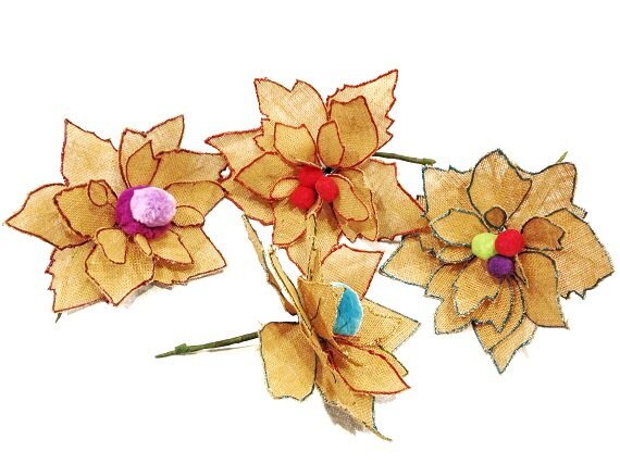 Burlap Flowers Template -